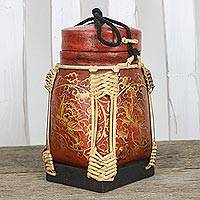 Ceramic and bamboo decorative jar, 'Temple Flower' - Handmade Red and Gold Decorative Rose Jar from Thailand