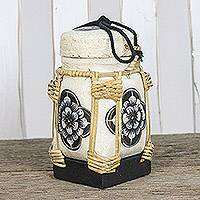 Bamboo and clay decorative jar, 'Temple Blossom' - Black and White Decorative Rose Jar from Thailand