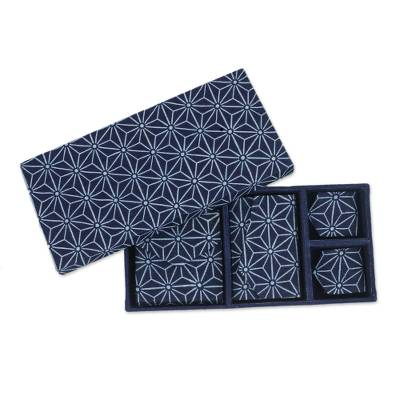 Handcrafted travel gift set, 'Heavenly Stars' (4 pieces) - 4 Piece Handcrafted Blue Cotton Print Gift Set from Thailand