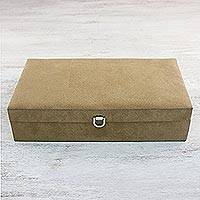 Velvet watch box, 'Time Keeper' (12.75 inch) - Handmade Brown Velvet Watch Box from Thailand (12.75 Inches)