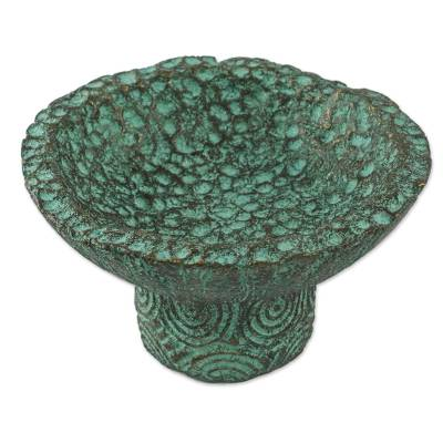 Handcrafted Recycled Paper Catchall in Green from Thailand