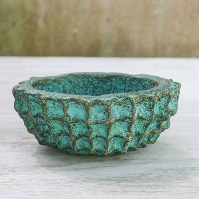Recycled paper decorative bowl, 'Green Web' - Handcrafted Decorative Bowl in Green from Thailand