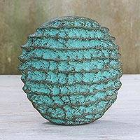 Recycled paper decorative vase, 'Artful Spikes' - Artistic Recycled Paper Decorative Vase from Thailand