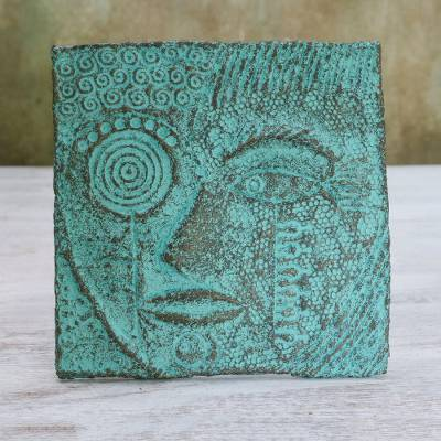 Recycled paper relief panel, 'Eye of Buddha' - Recycled Paper Relief Panel of Buddha from Thailand