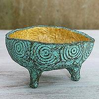 Coconut shell decorative bowl, 'Dreamy Offering' - Coconut Shell Decorative Bowl in Green from Thailand