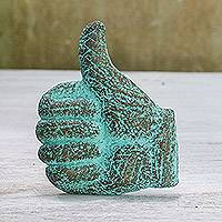 Recycled paper relief panel, 'Thumbs Up' - Thumbs Up Recycled Paper Relief Panel from Thailand