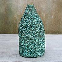 Recycled paper decorative vase, 'Flowing Thoughts' - Dotted Recycled Paper Decorative Vase from Thailand