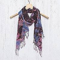 Tie-dyed cotton scarf, 'Artistic Colors'