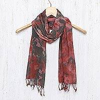 Tie-dyed cotton scarf, 'Heated Colors'