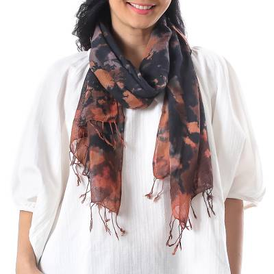 Tie-dyed cotton scarf, 'Subtle Colors' - Tie-Dyed Fringed Cotton Wrap Scarf in Brown from Thailand
