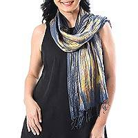 Tie-dyed silk scarf, 'Lovely Magic'