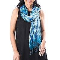 Tie-dyed silk scarf, 'Lovely Magic in Blue'