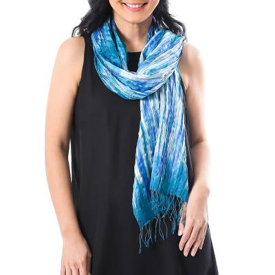 Tie-dyed silk scarf, 'Lovely Magic in Blue' - Handwoven Tie-Dyed Silk Scarf in Blue from Thailand