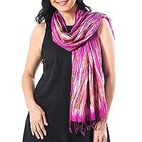 Tie-dyed silk scarf, 'Lovely Magic in Fuchsia' - Handwoven Tie-Dyed Silk Scarf in Fuchsia from Thailand