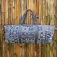 Cotton blend yoga mat bag, 'Om in Blue' - Handmade Cotton Blend Yoga Bag Blue Made in Thailand