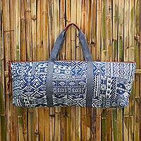 Cotton blend yoga mat bag, 'Om in Blue' - Handmade Cotton Blend Yoga Bag Blue Made in Thailand