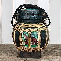 Ceramic decorative jar, 'Lanna Elephant' - Handmade Green Elephant Decorative Jar from Thailand