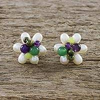 Multi-gemstone button earrings, 'Effervescent' - Cultured Pearl and Multi-Gemstone Flower Button Earrings