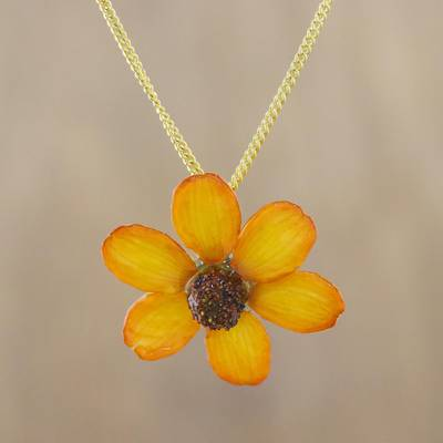 Natural flower pendant necklace, 'Zinnia Charm in Saffron' - 22k Gold Plated Orange Zinnia Flower Pendant from Thailand