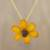 Natural flower pendant necklace, 'Zinnia Charm in Saffron' - 22k Gold Plated Orange Zinnia Flower Pendant from Thailand thumbail