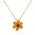 Natural flower pendant necklace, 'Zinnia Charm in Saffron' - 22k Gold Plated Orange Zinnia Flower Pendant from Thailand (image 2a) thumbail