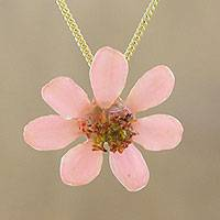 Natural flower pendant necklace, 'Zinnia Charm in Peach' - 22k Gold Plated Pink Zinnia Flower Pendant from Thailand