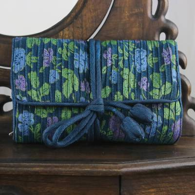 Rayon and silk blend jewelry roll, 'Floral Fashion' - Rayon and Silk Blend Jewelry Roll in Blue from Thailand