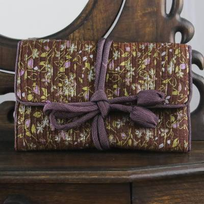 Rayon and silk blend jewelry roll, 'Fashion Garden' - Rayon and Silk Blend Jewelry Roll in Brown from Thailand