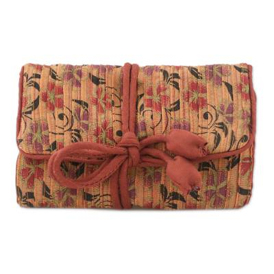 Rayon and silk blend jewelry roll, 'Dreamy Fashion' - Rayon and Silk Blend Jewelry Roll in Peach from Thailand