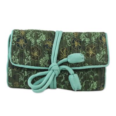 Rayon and silk blend jewelry roll, 'Floral Fashionista' - Rayon and Silk Blend Jewelry Roll in Green from Thailand