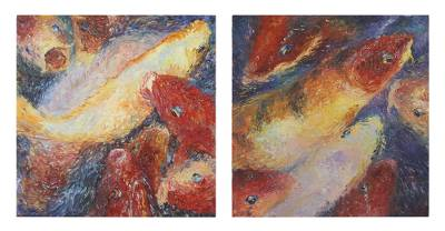 'Happy Fancy Carp I' (diptych) - Signed Impressionist Koi Paintings in Jewel Colors (Diptych)