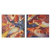 'Happy Fancy Carp II' (diptych) - Signed Impressionist Koi Diptych Paintings from Thailand