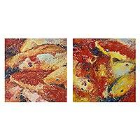 'Happy Fancy Carp III' (diptych) - Diptych Paintings of Thai Koi Fish in Impressionist Style