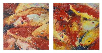 Diptych Paintings of Thai Koi Fish in Impressionist Style
