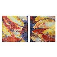 'Happy Fancy Carp IV' (diptych) - Original Acrylic on Canvas Set of Two Koi Fish Paintings