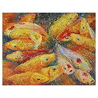'Joyful Fancy Carp' - Signed Original Expressionist Koi Fish Painting Thailand