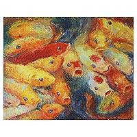 'Active Fancy Carp' - 20-Inch Signed Original Thai Koi Fish Painting in Acrylics