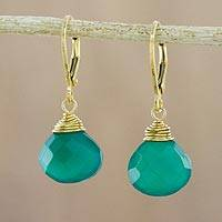 Gold plated chalcedony dangle earrings, 'Grand Treasure in Green' - Handmade 18k Gold Plated Green Chalcedony Dangle Earrings