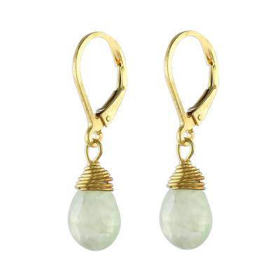 Gold plated prehnite dangle earrings, 'Grand Treasure' - Handmade 18k Gold Plated Prehnite Dangle Earrings