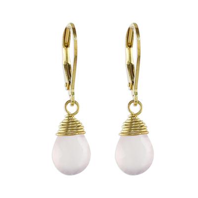 Handmade 18k Gold Plated Pink Chalcedony Dangle Earrings