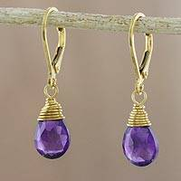Gold plated amethyst dangle earrings, 'Grand Treasure'