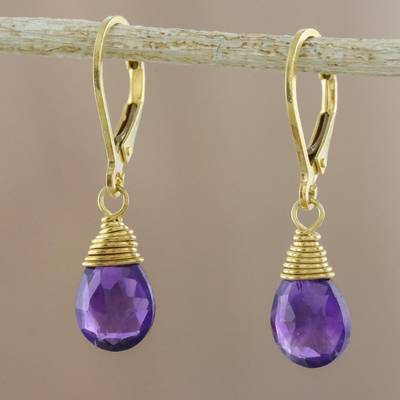 Gold plated amethyst dangle earrings, 'Grand Treasure' - Handmade 18k Gold Plated Amethyst Dangle Earrings