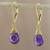 Gold plated amethyst dangle earrings, 'Grand Treasure' - Handmade 18k Gold Plated Amethyst Dangle Earrings thumbail