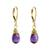 Gold plated amethyst dangle earrings, 'Grand Treasure' - Handmade 18k Gold Plated Amethyst Dangle Earrings (image 2a) thumbail