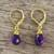Gold plated amethyst dangle earrings, 'Grand Treasure' - Handmade 18k Gold Plated Amethyst Dangle Earrings (image 2b) thumbail