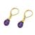 Gold plated amethyst dangle earrings, 'Grand Treasure' - Handmade 18k Gold Plated Amethyst Dangle Earrings (image 2c) thumbail