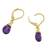 Gold plated amethyst dangle earrings, 'Grand Treasure' - Handmade 18k Gold Plated Amethyst Dangle Earrings (image 2d) thumbail