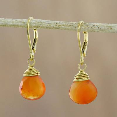 Gold plated carnelian dangle earrings, 'Grand Treasure' - Handmade 18k Gold Plated Carnelian Dangle Earrings