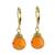 Gold plated carnelian dangle earrings, 'Grand Treasure' - Handmade 18k Gold Plated Carnelian Dangle Earrings (image 2a) thumbail