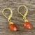 Gold plated carnelian dangle earrings, 'Grand Treasure' - Handmade 18k Gold Plated Carnelian Dangle Earrings (image 2b) thumbail